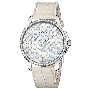Gucci ladies' diamond steel cream leather strap watch - Product number 1282123