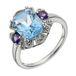 Silver,BlueTopaz,Amethyst&DiamondCocktailRing - Product number 1282530
