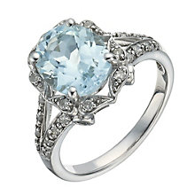 Silver , Blue Topaz & 1/5 Carat Diamond Cocktail Ring - Product number 1283588