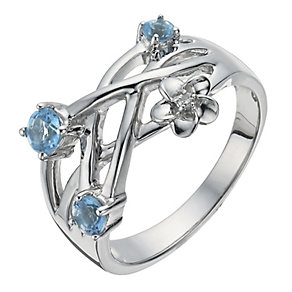 Forget Me Not Silver, Diamond & Blue Topaz Ring - Product number 1283847