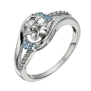 Forget Me Not Silver, Diamond & Blue Topaz Swirl Ring - Product number 1284126