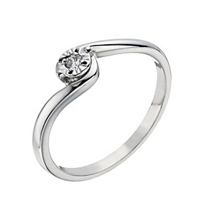 9ct White Gold Illusion Set Diamond Solitaire Ring - Product number 1284371