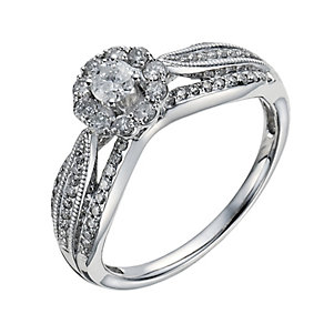 18ct White Gold 1/2 Carat Diamond Solitaire Ring - Product number 1284797