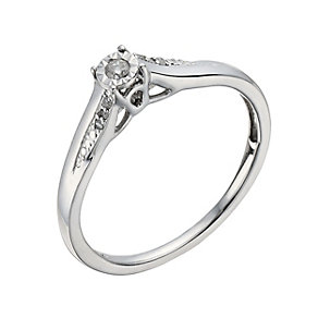 9ct White Gold Diamond Illusion Solitaire Ring - Product number 1285181