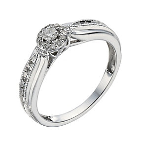 9ct White Gold 18 Point Diamond Halo Cluster Ring - Product number 1285637
