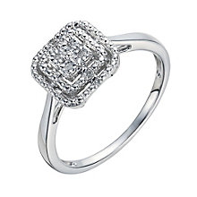 Sterling Silver Square Diamond Cluster Ring - Product number 1286366