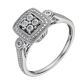 Sterling Silver Square Diamond Illusion Cluster Ring - Product number 1286498