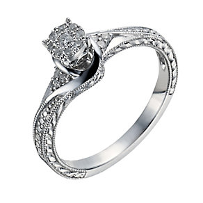 Sterling Silver Diamond Round Cluster Ring - Product number 1286625
