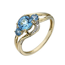 9ct Yellow Gold Three Stone Blue Topaz & Diamond Ring - Product number 1287648