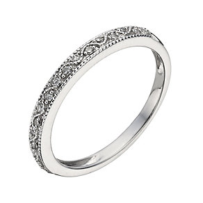 9ct White Gold Diamond Milgrain Ring - Product number 1287877