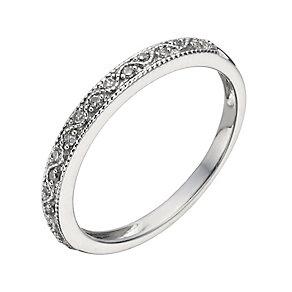 9ct White Gold Diamond Milgrain Ring - Product number 1287877