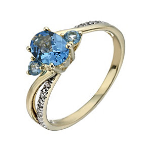 9ct Yellow Gold Blue Topaz & Diamond Ring - Product number 1288121