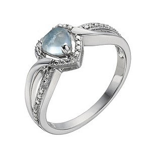 Candy Heart Argentium Silver Diamond & Blue Topaz Ring