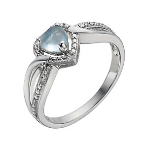 Candy Heart Argentium Silver Diamond & Blue Topaz Ring - Product number 1288946