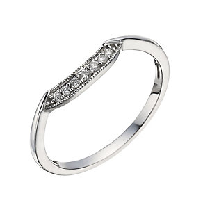 9ct White Gold Diamond Shaped Milgrain Ring - Product number 1289063