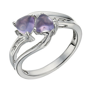 Candy Hearts Silver, Diamond & Amethyst Ring - Product number 1289209