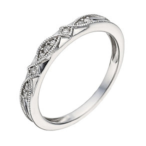 9ct White Gold Diamond & Milgrain Ring - Product number 1289330