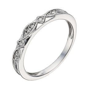 9ct White Gold Diamond & Milgrain Ring - Product number 1289330