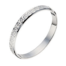 9ct White Gold 2mm Diamond Cut Wedding Ring - Product number 1290835