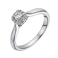 9ct White Gold 1/4 Carat Princess Diamond Solitaire Ring - Product number 1292706