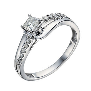 9ct White Gold 1/3 Carat Diamond Princess Solitaire Ring - Product number 1292846
