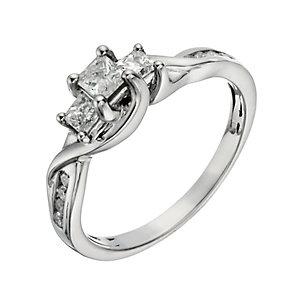 Palladium 950 1/2 Carat Diamond True Love Trilogy Ring - Product number 1293427