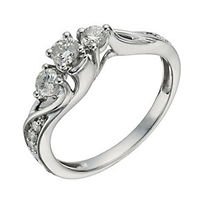 18ct White Gold 1/2 Carat Diamond True Love Trilogy Ring - Product number 1293559