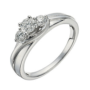 18ct White Gold 1/2 Carat Diamond True Love Trilogy Ring - Product number 1293680