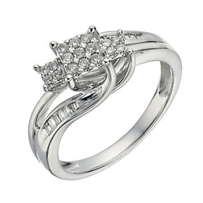 9ct White Gold 0.17 Carat Diamond True Love Trilogy Ring - Product number 1293842
