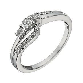 9ct White Gold 1/4 Carat Diamond True Love Trilogy Ring - Product number 1293974