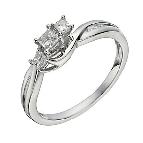 9ct White Gold 1/4 Carat Diamond True Love Trilogy Ring - Product number 1294105