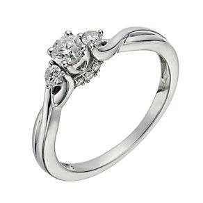 9ct White Gold 1/3 Carat Diamond True Love Trilogy Ring - Product number 1294245