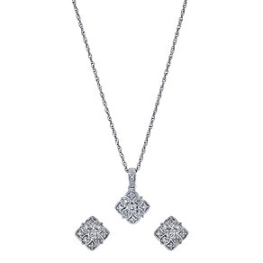 Silver 1/5 Carat Diamond Cluster Earrings & Pendant Set - Product number 1294520