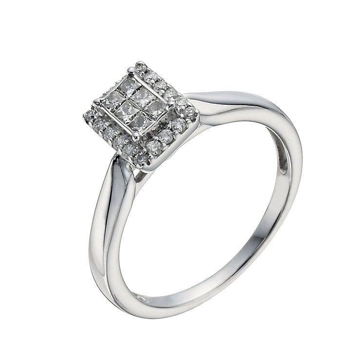 9ct White Gold 1/3 Carat Diamond Halo Cluster Ring - Product number 1294687