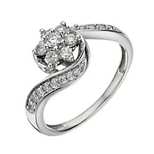 9ct White Gold 0.40 Carat Diamond Daisy Cluster Ring - Product number 1294830