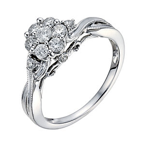 9ct White Gold 1/2 Carat Diamond Cluster Ring - Product number 1294989