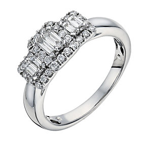 9ct White Gold Carat Diamond Baguette Cluster Ring - Product number 1295128