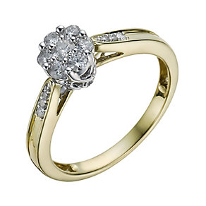 9ct Gold 1/3 Carat Diamond Cluster Ring - Product number 1295381