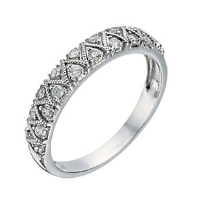 9ct White Gold 1/5 Carat Diamond Zig Zag Eternity Ring - Product number 1295748