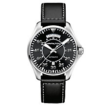 Hamilton Khaki Pilot men's black leather strap watch - Product number 1295896