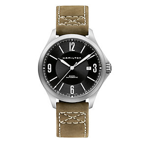 Hamilton Khaki Aviation men's khaki leather strap watch - Product number 1295926