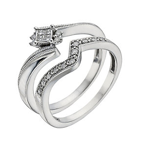 Argentium Silver 15 Point Diamond Bridal Set - Product number 1295942