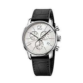 Calvin Klein City men's black leather strap watch - Product number 1297198