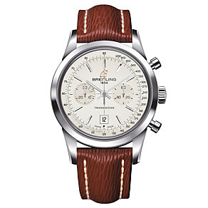 Breitling Transocean 38 brown leather strap watch - Product number 1297422