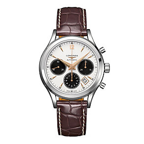 Longines Heritage men's brown leather strap watch - Product number 1297686