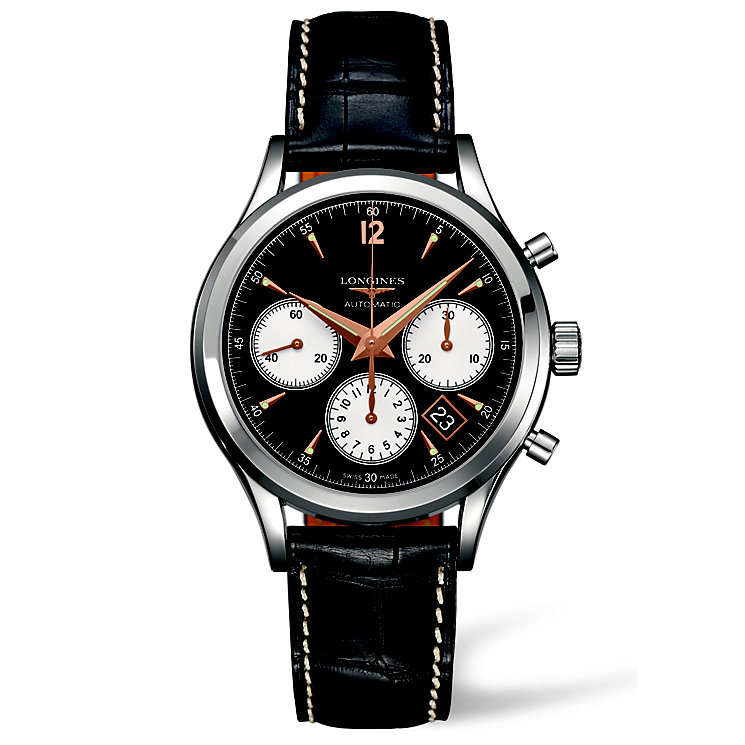 Longines heritage men 39 s chronograph leather strap watch ernest jones for Longines leather strap