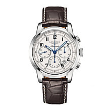 Longines men's stainless steel brown leather strap watch - Product number 1297724