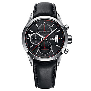 Raymond Weil Freelancer men's black leather strap watch - Product number 1297805