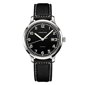 Longines men's stainless steel black canvas strap watch - Product number 1297821
