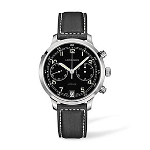 Longines Heritage men's stainless steel black strap watch - Product number 1297856